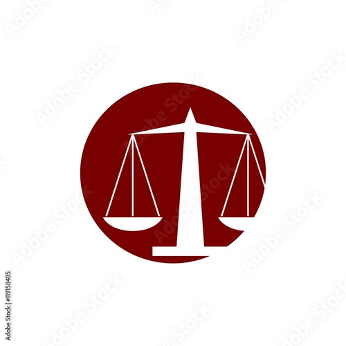 """""""Scale of Justice Red Circle Law Firm Logo"""" Stock image ..."""