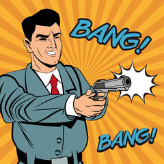Detective police man gun revolver pop art comic cartoon icon. Colorful design and striped background. Vector illustration