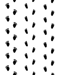 Footsteps of baby on a white background, seamless pattern, vector