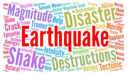 Earthquake word cloud concept
