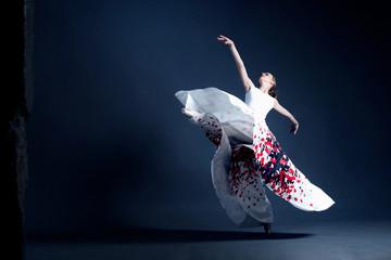 Young ballerina in a beautiful dress is dancing in a dark photostudio Wall mural