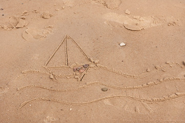 Sailboats Drawing in the sand
