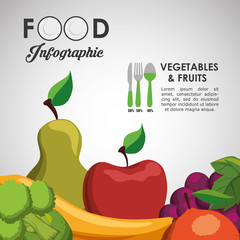 fruits pear apple banana orange grapes cutlery healthy and organic food nutrition lifestyle icon set. Colorful and flat design. Vector illustration
