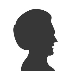flat design man head profile silhouette icon vector illustration
