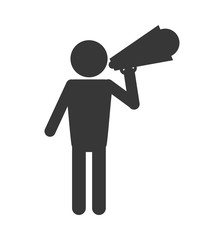 flat design man with megaphone pictogram icon vector illustration