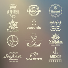 Vintage marine, nautical, navy labels