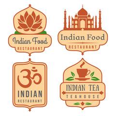 Indian food vector logo set