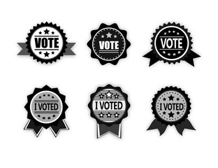 Set of six Badges for Elections in gray scale style