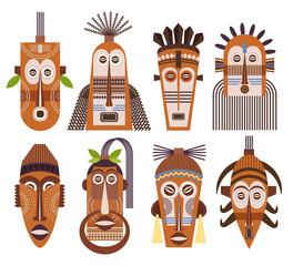 Tribal ethnic mask vector icons