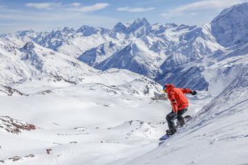 Snowboard freeride at the Caucasus mountains