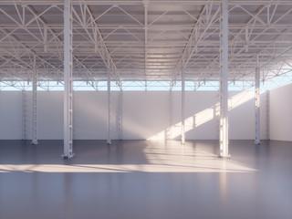 Contemporary empty warehouse interior 3d illustration