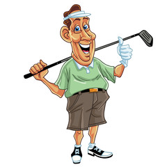 Golfer Man Cartoon Vector Illustration