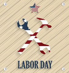 Labor Day poster. Wooden background. Vector illustration.