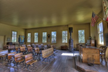 Interior of Old Coloma Schoolhouse