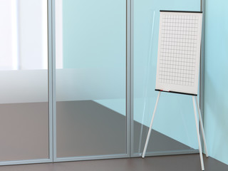 Blank flipchart stands near the wall