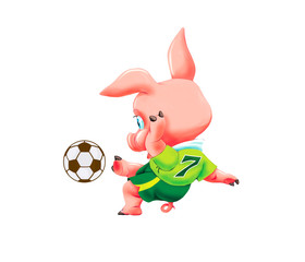 Little pig with soccer ball