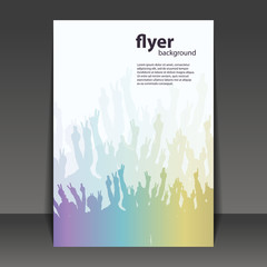Flyer or Cover Design - Party Time -Flyer Template with Colorful Waving Hands