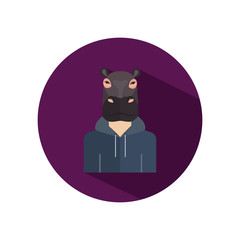 Human avatar with hippo head