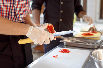 culinary workshop. paella cooking