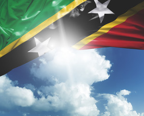Saint Kitts and Nevis flag on a beautiful day