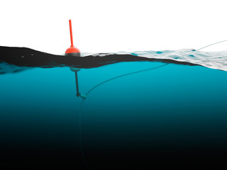 Bobber with fishing line under water