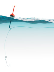 Bobber with fishing line and hook under water