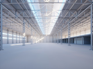 Contemporary industrial building interior illuminated by sunlight 3d illustration
