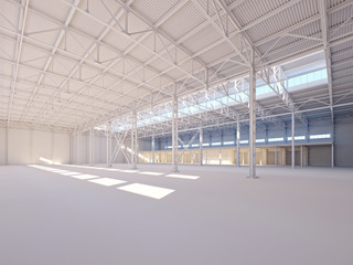 Contemporary empty white warehouse illuminated by sunlight 3d illustration
