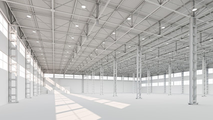 New empty white industrial building interior 3d illustration