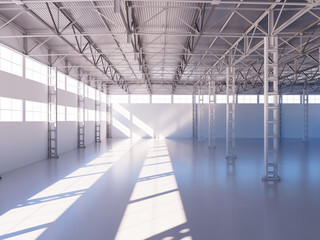 Contemporary empty warehouse interior 3d illustration