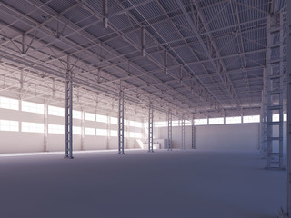 Contemporary empty white warehouse illuminated by sunlight interior 3d illustration