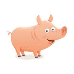 Pig character. Farm animal. Vector hand drawn eps 10 clip art illustration isolated on white background. Children's book design element. Picture book illustration.