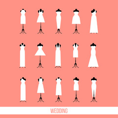 Wedding card template. Wedding dresses. Isolated flat cartoon dress collection.