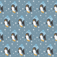 Penguin seamless pattern background. Funny cartoon penguin and snowflakes. Childish penguin  isolated on stylish cover for design card, book, placard, banner, album, wrapping paper. Kids theme.