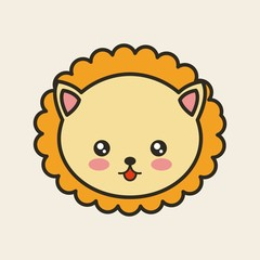 cute lion tender isolated icon