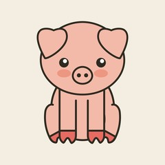 cute pig tender isolated icon