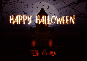 Fototapete - 3D Halloween background with pumpkins and spooky castle