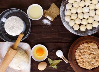 Russian traditional dish - pelmeni (succulent minced meat with spices in the dough). Ingredients for cooking. The top view.