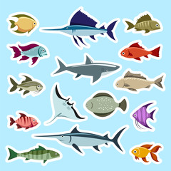 Colorful fish stickers set vector isolated on blue