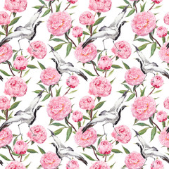 Crane birds dance, pink peony flowers. Floral repeating background. Watercolor
