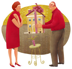 The illustration of the man giving a house with a bow to the woman.