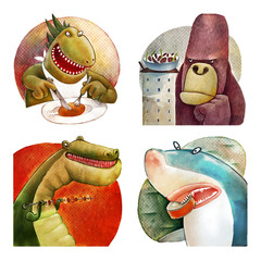 The illustration of four hungry monsters: godzilla, king kong, tirex and shark.