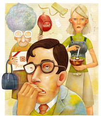 The illustration of a regretting man and his angry mother and girl friend upsetting by stupid presents.