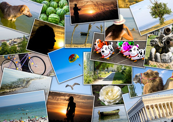 Mosaic collage mix travel in summer 2015 with pictures of different places, landscapes and objects shot by myself