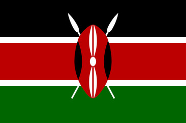 Vector flat style Republic of Kenya state flag. Official design of Kenya national flag. Symbol with horizontal stripes and emblem. Independence day, holiday, button, background, clip art illustration Wall mural