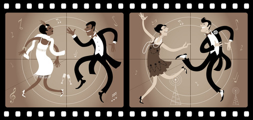 Wall Mural - Two couples dressed in 1920s style dancing the Charleston in an old movie frame, vector illustration, EPS 8