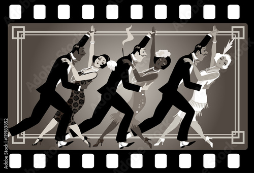Wall mural Group of people dressed in retro fashion dancing in an old movie frame, EPS 8 vector illustration