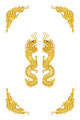 Golden dragon frame on white background