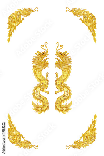 Golden dragon frame on white background\