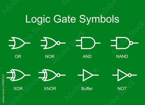 Digital Logic Gate Symbols White Isolated On Green Background